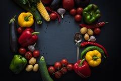 Различные свежие зрелые овощи и ложка на шифере всходят на борт Стоковое Изображение RF
