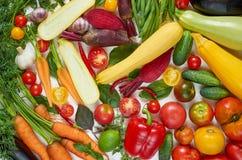 Различные свежие органические овощи на белой таблице: томаты, отрезанный цукини, свекла, чеснок, капуста, моркови, зеленые фасоли стоковое изображение rf