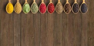 Различные специи и травы в деревянных ложках Condiments на годе сбора винограда стоковое фото