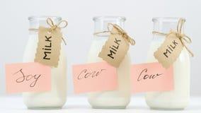 Различные типы образ жизни молока vegan коровы сои здоровый стоковые фото