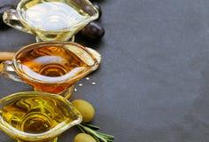 Различные типы постного масла - сезама, оливки, льняного семени Стоковое фото RF
