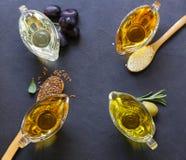 Различные типы постного масла - сезама, оливки, льняного семени Стоковое Изображение RF