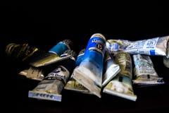 Различные трубки синих чернил для всех художников голубые тоны трубок чернил для творческих способностей ` художников будут работ Стоковое Фото