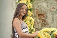 различные флористические 4 плитки картины орнаментов безшовных Красивая девушка с длинной здоровой улыбкой волос с лепестками роз Стоковое Изображение RF