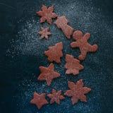 Различные формы печений пряника шоколада взбрызнутых с Стоковое Фото