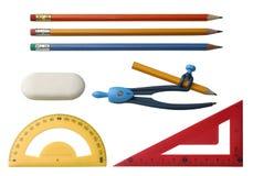 различные чертегные инструменты Стоковое Изображение