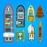 Различные шлюпки и корабли моря Верхняя часть иллюстраций вектора иллюстрация вектора