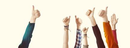 Различный большой палец руки оружий вверх Стоковые Фото