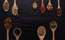 Различный вид высушенных листьев, трав, плодоовощ и цветка положил в много вид деревянных ложек на черную предпосылку Стоковая Фотография RF