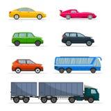 Различный пассажирский автомобиль Установленные автомобили городского, города и значки перехода кораблей плоские Ретро комплект з иллюстрация штока