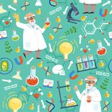 Различный химикат или биологические инструменты Профессор медицины вектор картины безшовный иллюстрация штока