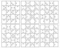 6 различных белых головоломок Стоковые Изображения