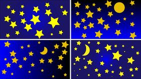 4 различных вектора предпосылки неба Nighttime Стоковая Фотография