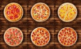 6 различных пицц установленных для меню Стоковое фото RF