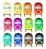 12 различных поезда в 12 других цветах стоковые фотографии rf