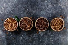 4 различных разнообразия кофейных зерен Стоковые Фото