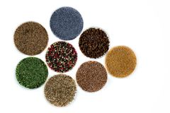 8 различных типов трав в стеклянных блюдах на белой предпосылке стоковые фото