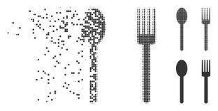 Разложенные вилка полутонового изображения пиксела и значок ложки иллюстрация вектора