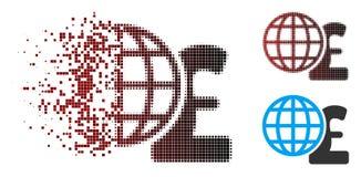 Разложенный фунт полутонового изображения пиксела глобальный финансирует значок иллюстрация штока