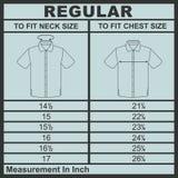 Размер диаграммы рубашки людей Стоковое Изображение RF