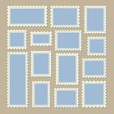 Размер штемпелей почтового сбора различный в голубом и белом бесплатная иллюстрация