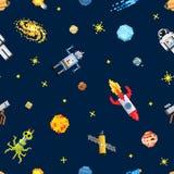 Разметьте безшовную предпосылку картины, космонавта чужеземца, робот Стоковые Фото