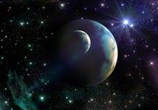 Земл-как планеты в космосе с звездами и межзвёздным облаком стоковые фотографии rf
