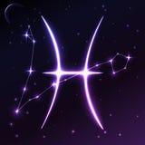 Разметьте символ Pisces концепции зодиака и гороскопа, искусства вектора и иллюстрации Стоковое Фото