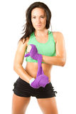 разминка женщины полотенца владением спортсмена Стоковые Фото