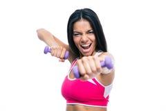 Разминка женщины фитнеса с гантелями Стоковые Изображения RF