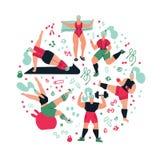 Разминка состава округлой формы в спортзале на белой предпосылке Женщины делая спорт Представления йоги, kickboxing, работают для иллюстрация штока