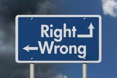Разница между правым и неправильным Стоковая Фотография RF