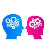 Думать человека и женщины иллюстрация вектора