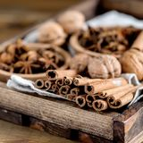 Разнообразие анисовки специй играет главные роли ингридиенты рождества ручек Cinnamone чокнутые для квадрата торта Стоковое фото RF