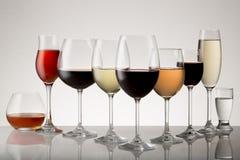 Разнообразие алкогольных напитков Стоковое фото RF