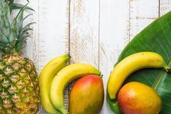 Разнообразие бананов манго ананаса тропических плодоовощей на больших лист ладони на белой предпосылке древесины Planked Каникулы Стоковые Фото