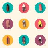 Разнообразие ботинки высоко-накрененные модой Комплект значка Стоковые Изображения RF