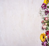 Разнообразие весны цветет, желтые розы, розы кустарника, freesia, солнцецветы, граница, место для текста на деревянном деревенско стоковое фото rf