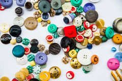Разнообразие винтажных кнопок Стоковое Фото