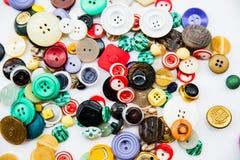 Разнообразие винтажных кнопок Стоковое Изображение