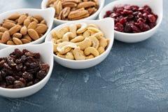 Разнообразие гаек и высушенных плодоовощей в малых шарах Стоковая Фотография