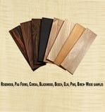 Разнообразие деревянных образцов на предпосылке облицовки curley стоковые изображения