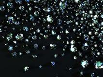 Разнообразие диамантов на черной предпосылке Стоковые Изображения