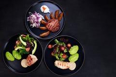 Разнообразие ед завтрака, фото меню ресторана стоковые фотографии rf