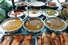Разнообразие затира chili для надувательства на Saphan Khwai, Бангкоке, Таиланде Стоковое Фото