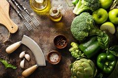 Разнообразие зеленых овощей и плодоовощей Стоковое Фото