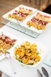 Разнообразие канапе мяса и рыб Стоковые Фото