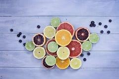 Разнообразие отрезанных цитрусовых фруктов и голубик стоковое изображение