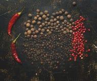 Разнообразие перцы специй на темной квадратной деревенской предпосылке, взгляде сверху Перец Chili, болгарский перец, красный пее стоковые изображения