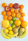 Разнообразие плодоовощей, яблок, tangerines, бананов, груш, лимонов, l Стоковые Фото